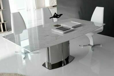Белый обеденный стол из мрамора
