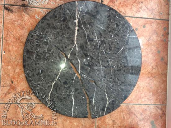 разбилась столешница из камня