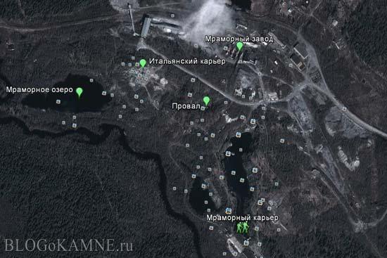 карта мраморного карьера рускела